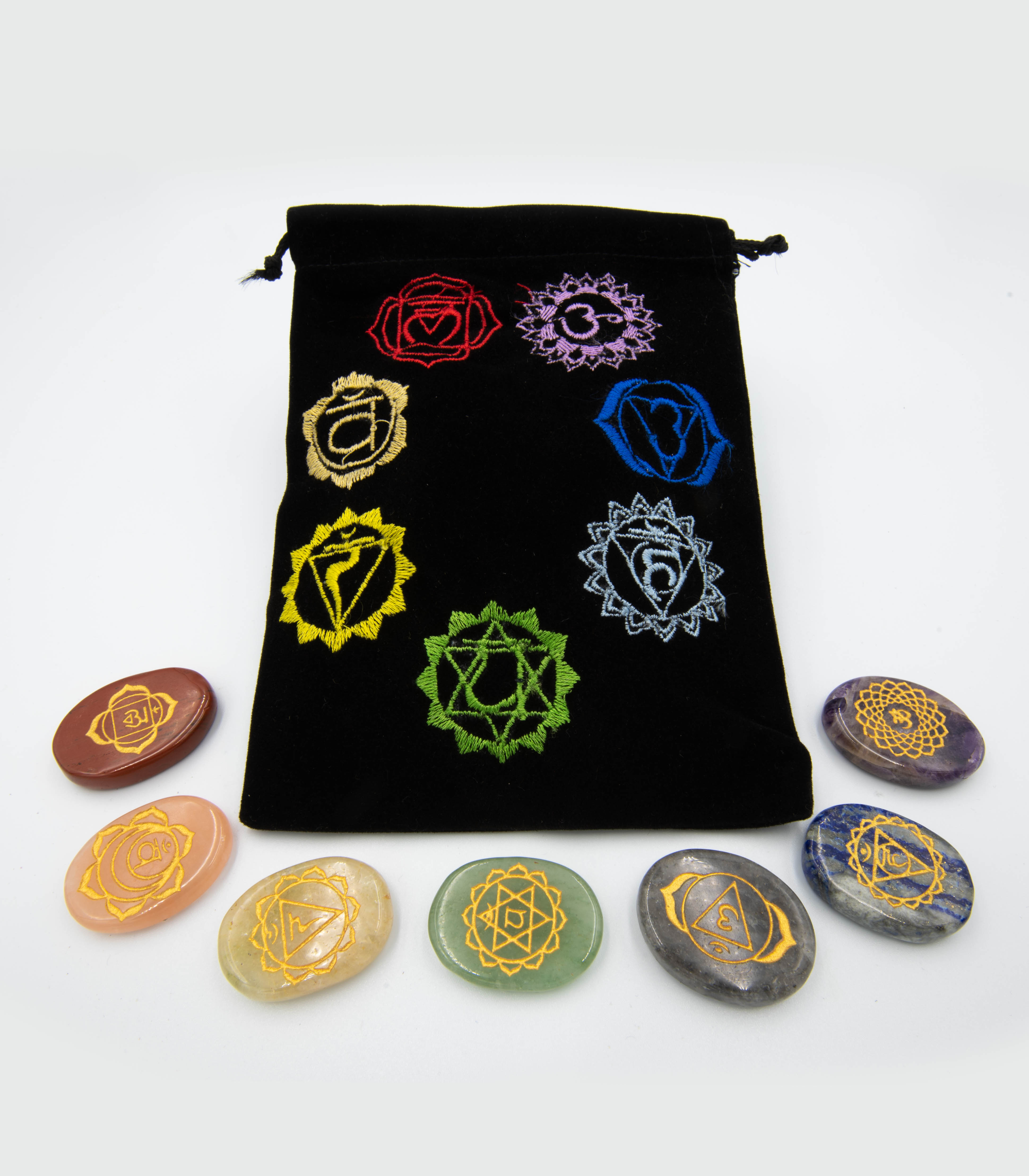 Set of 7 Chakra Stones in Embroidered Pouch