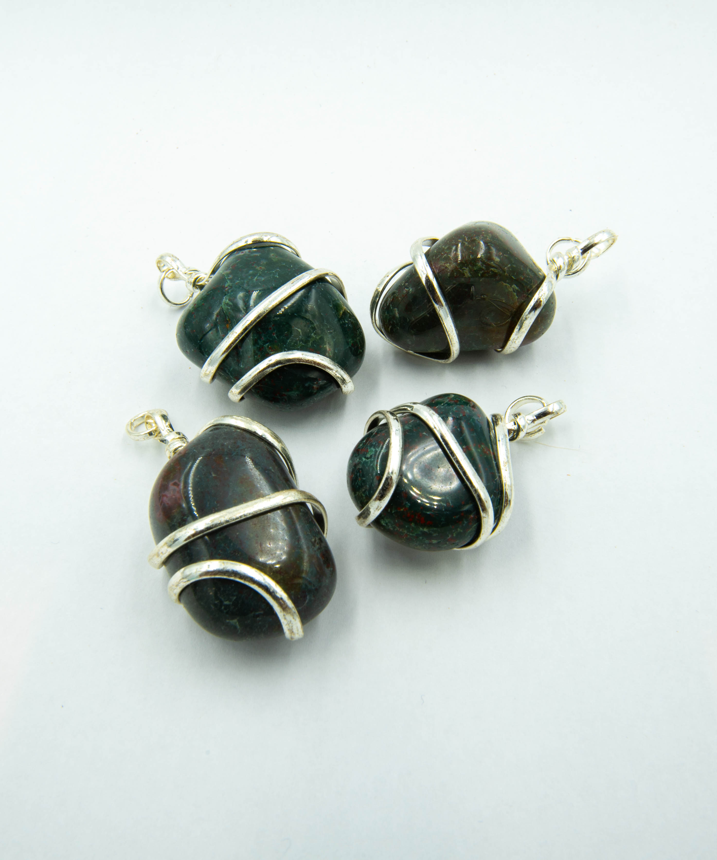 Blood Stone Wire Wrap Pendant