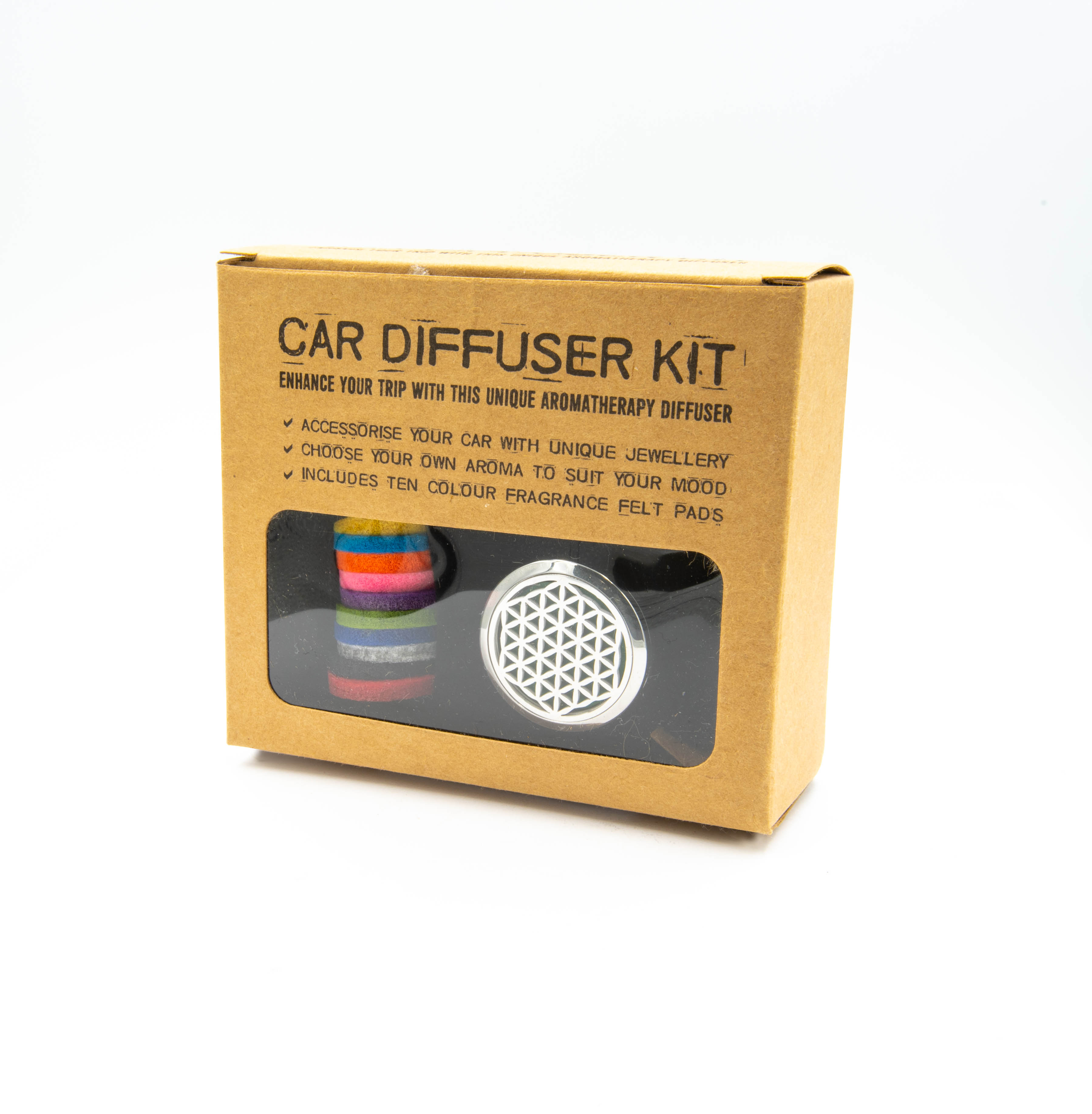 'Flower of Life' Stainless Steel Aromatherapy car Diffuser
