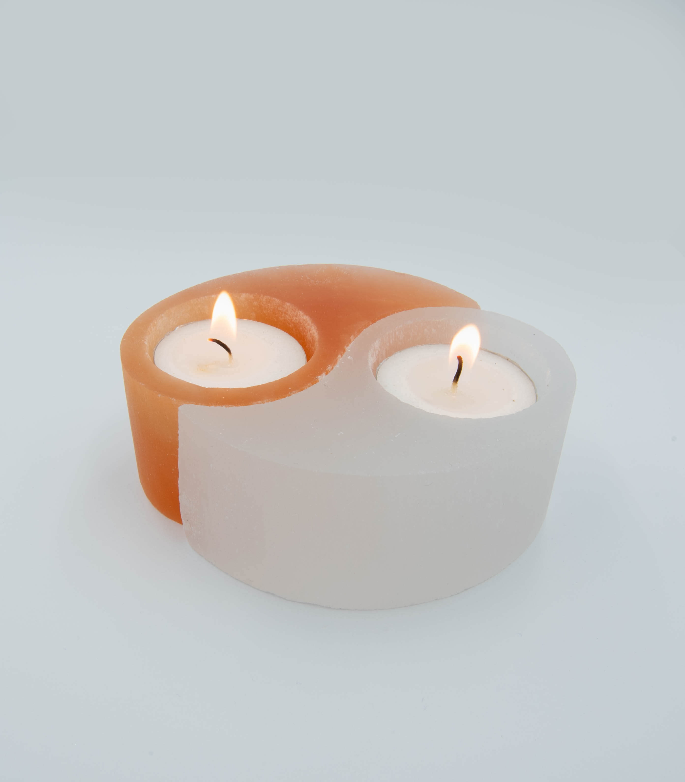 Selenite Yin Yang Symbol Tea Light Holders